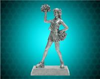 "8"" Pewter Cheerleader Resin"