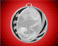 2 inch Silver Lamp of Knowledge Laserable MidNite Star Medal