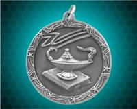 2 1/2 inch Silver Lamp of Knowledge Shooting Star Medal