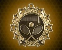2 1/4 Inch Gold Tennis Ten Star Medals