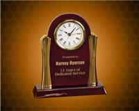 8 1/4 x 7 1/2 inch Rosewood Piano Finish Clock with Gold Columns