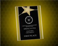 6x8 Black/Gold Star Acrylic Stand Up Plaque with Leatherette Easel
