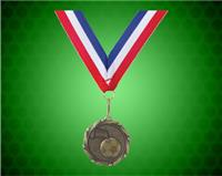 Gold Soccer Medal with a 7/8 x 32 inch Red, White, and Blue Ribbon