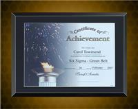 11 x 14 inch Black Glass Certificate Plaque