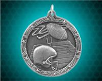 2 1/2 inch Silver Football Shooting Star Medal