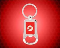 "2 1/8"" Silver/Red Laserable Bottle Opener Keychain"