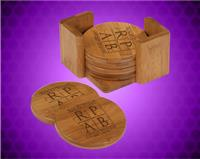 3 3/4 x 3 3/4 Inch Bamboo Round 6 Coaster Set with Holder