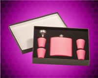 6 oz. Matte Pink Stainless Steel Flask with Presentation Box