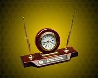 9 x 4 3/4 inch Piano Finish Desk Clock on Base with 2 Pens