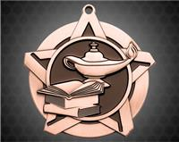 2 1/4 inch Bronze Knowledge Super Star Medal