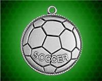 1 1/2 inch Silver Soccer Die Cast Medal
