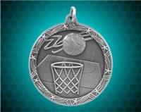 2 1/2 inch Silver Basketball Shooting Star Medal