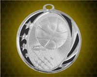 2 inch Silver Basketball Laserable MidNite Star Medal