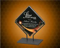 7 1/2 Inch Star Galaxy Acrylic Plaque With Iron Stand