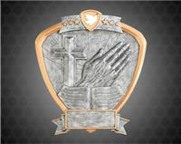 "8"" x 8 1/2"" Religion Shield Resin"