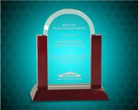 7 inch Jade Dome Gateway Glass Award with Rosewood Piano Finish Base