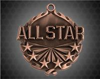 1 3/4 inch Bronze All Star Wreath Medal