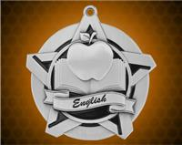 2 1/4 inch Silver English Super Star Medal