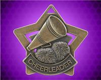 2 1/4 inch Gold Cheerleading Star Medal