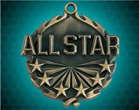 1 3/4 inch Gold All Star Wreath Medal