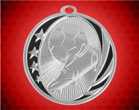2 inch Silver Soccer Laserable MidNite Star Medal