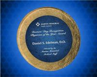8 1/2 inch Gold/Blue Round Acrylic Art Plaque with Easel