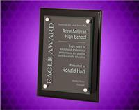 9 x 12 inch Black Piano Finish Floating Glass Plaque