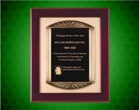 14 x 17 inch Rosewood Piano-Finish Plaque with Antique Bronze Frame, Gold Bkgrnd