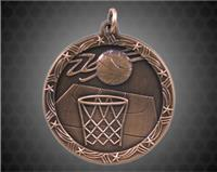 2 1/2 inch Bronze Basketball Shooting Star Medal