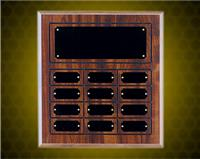 11 5/8 x 12 3/4 Inch Cherry Finish Perpetual Plaque (12 Plates)