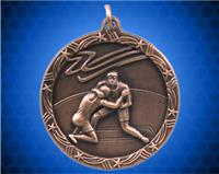 2 1/2 inch Bronze Wrestling Shooting Star Medal