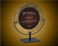 15 inch Gold/Burgundy Round Acrylic Art Plaque with Iron Stand