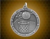 1 3/4 inch Silver Basketball Shooting Star Medal