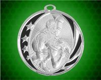 2 inch Silver Wrestling Laserable MidNite Star Medal