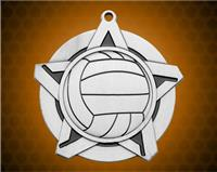 2 1/4 inch Silver Volleyball Super Star Medal