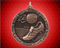 1 3/4 inch Bronze Soccer Shooting Star Medal