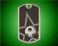 2 inch Black/Silver Soccer Laserable Star Dog Tag