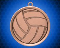 2 1/4 inch Bronze Volleyball Mega Medal
