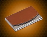 "2 1/2"" x 3 3/4"" Leather Metal Business Card Holder"