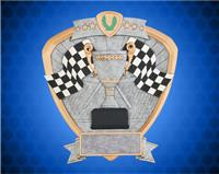 "8"" x 8 1/2"" Racing Flags Shield Resin"