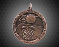 1 3/4 inch Bronze Basketball Shooting Star Medal