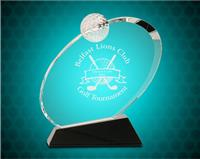 7 1/4 Inch Clear Crystal Oblong Golf Award On Black Crystal Base