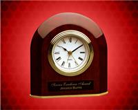 5 1/4 x 5 1/2 inch Rosewood Piano Finish Beveled Arch Desk Clock
