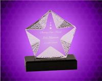 7 inch Clear Crystal Textured Star on Black Base