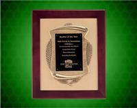 14 x 17 inch Rosewood Piano-Finish Plaque w/ Antique Bronze Casting, Gold Bckgnd