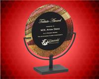 11 inch Autumn Harvest Round Acrylic Art Plaque with Iron Stand