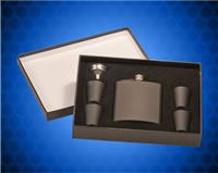 6 oz. Matte Black Stainless Steel Flask with Presentation Box