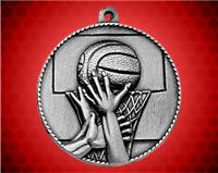 2 inch Silver Basketball Die Cast Medal
