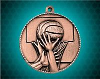2 inch Bronze Basketball Die Cast Medal
