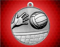 2 inch Silver Volleyball Die Cast Medal